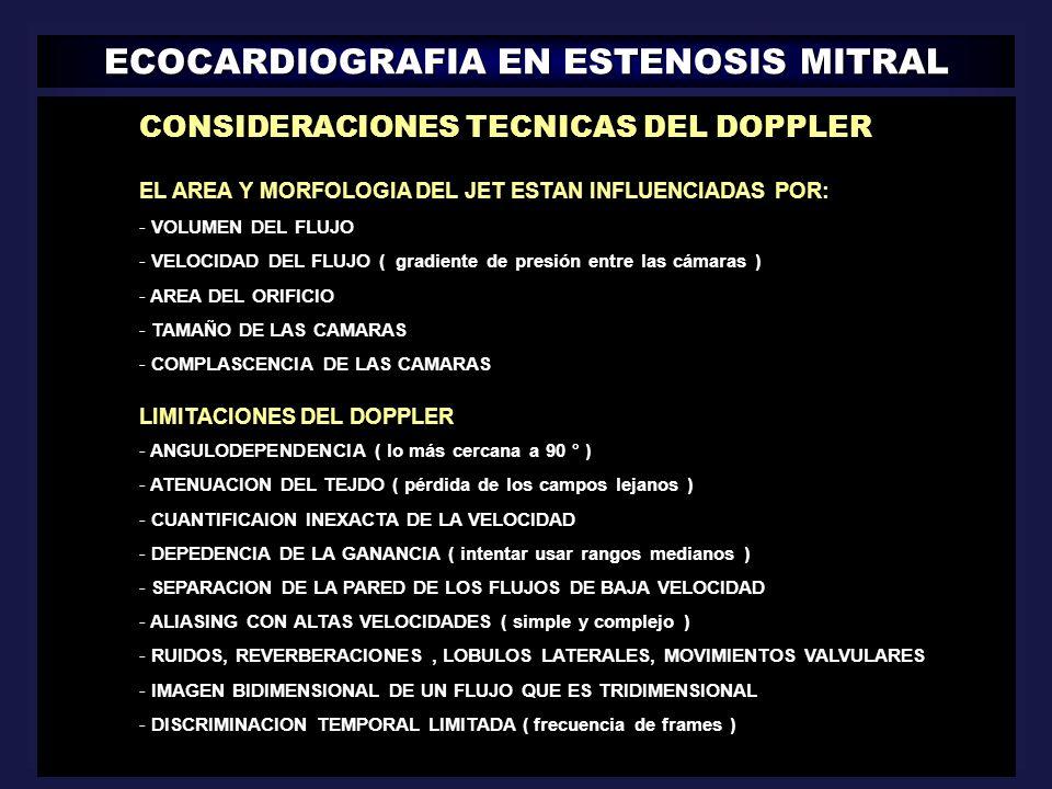 ECOCARDIOGRAFIA EN ESTENOSIS MITRAL || CONSIDERACIONES TECNICAS DEL DOPPLER EL AREA Y MORFOLOGIA DEL JET ESTAN INFLUENCIADAS POR: - VOLUMEN DEL FLUJO