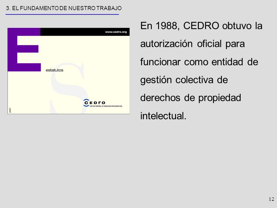 12 En 1988, CEDRO obtuvo la autorización oficial para funcionar como entidad de gestión colectiva de derechos de propiedad intelectual.