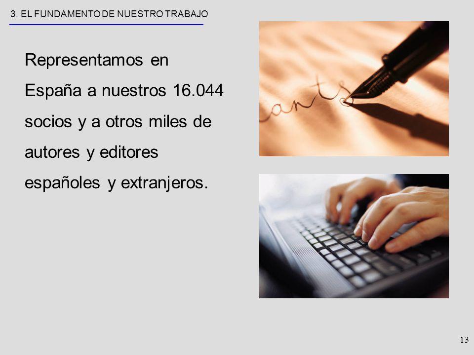 13 Representamos en España a nuestros 16.044 socios y a otros miles de autores y editores españoles y extranjeros.