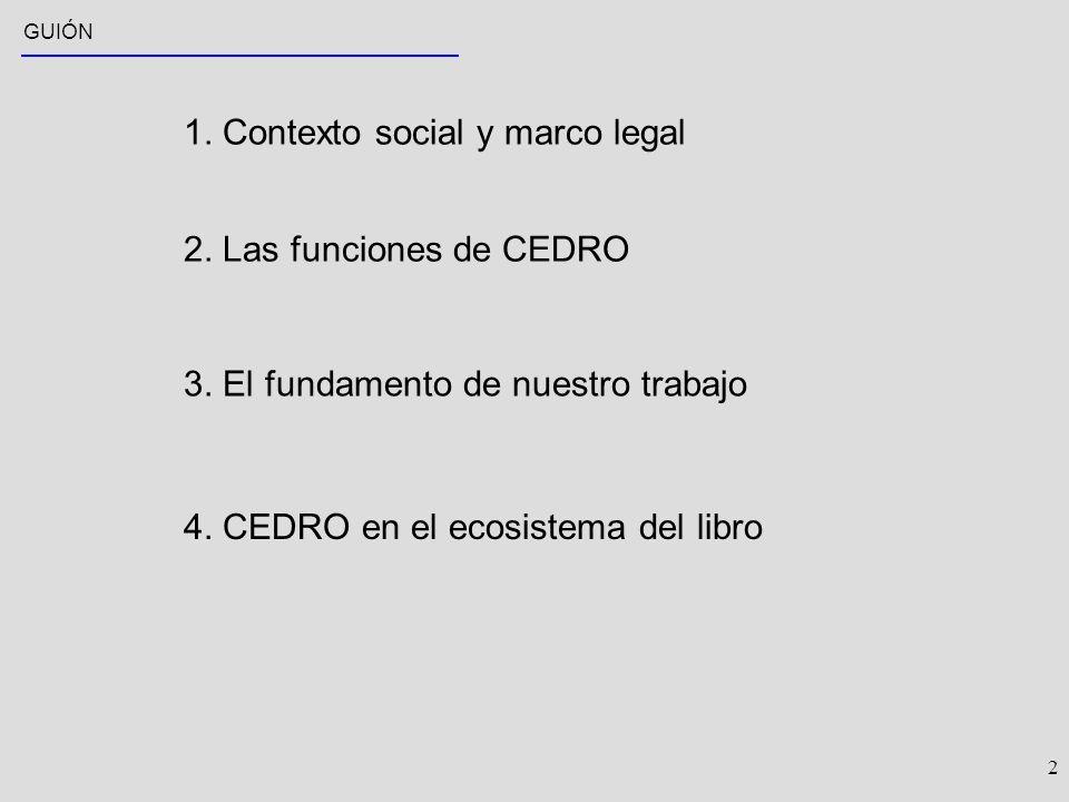 2 GUIÓN 1. Contexto social y marco legal 2. Las funciones de CEDRO 3.