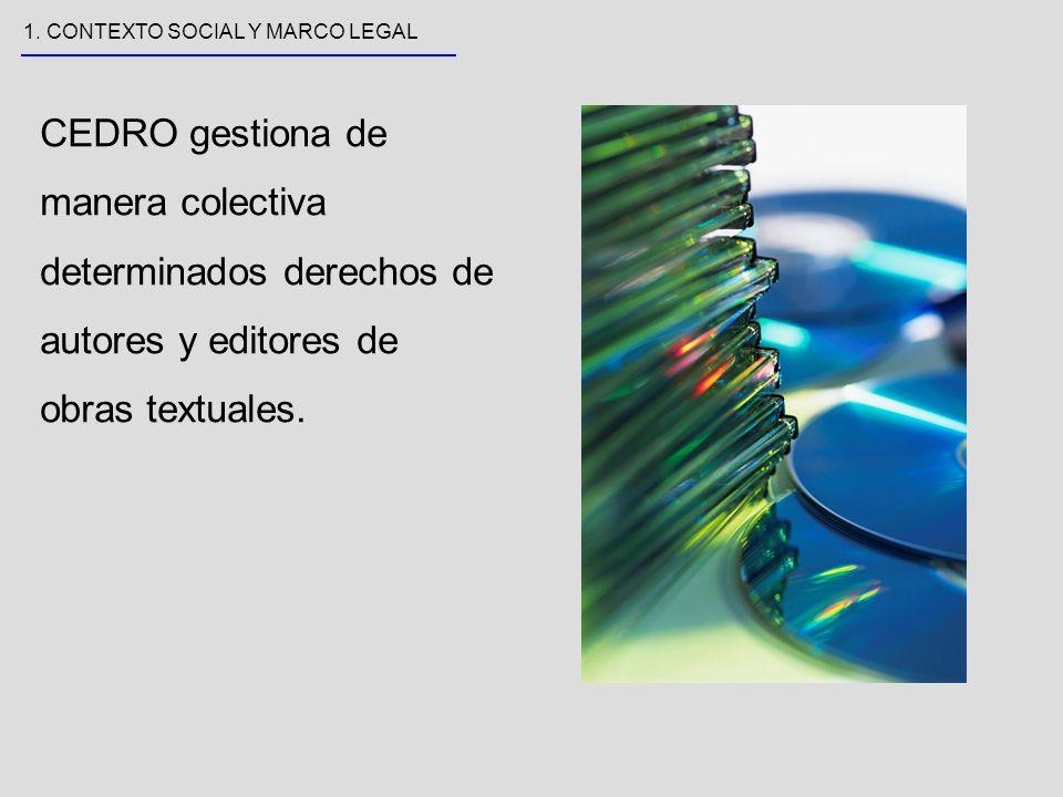 Las funciones de CEDRO son:.recaudación y reparto.