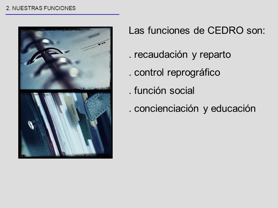 Las funciones de CEDRO son:. recaudación y reparto.