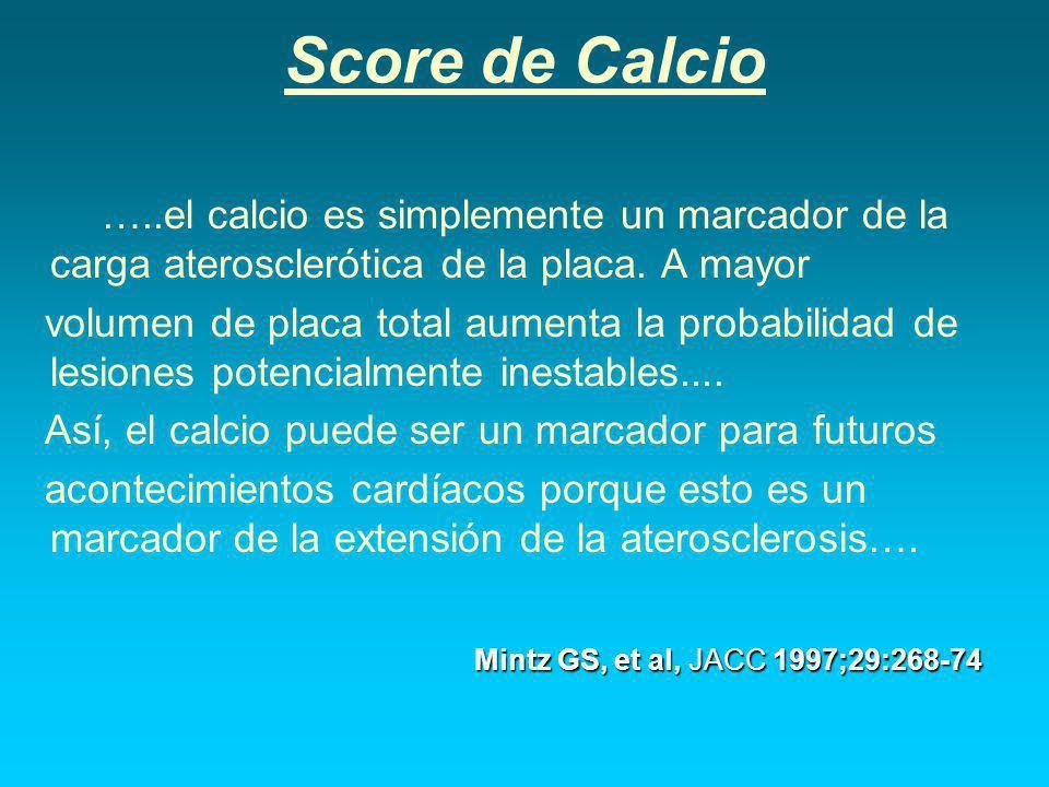 Score de Calcio …..el calcio es simplemente un marcador de la carga aterosclerótica de la placa.