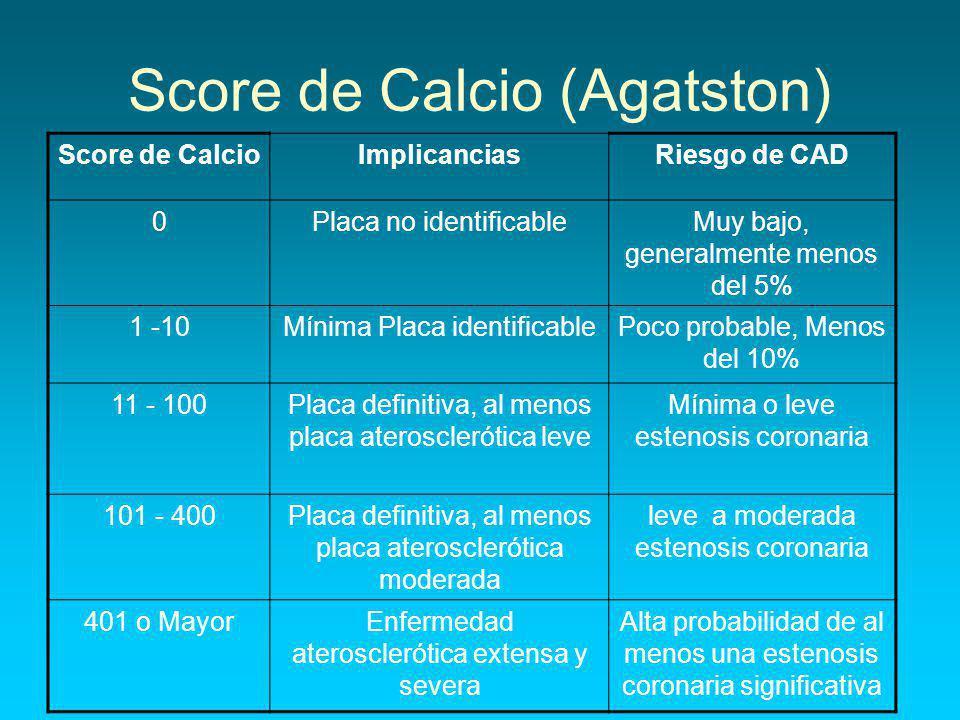 Score de Calcio (Agatston) Score de CalcioImplicanciasRiesgo de CAD 0Placa no identificableMuy bajo, generalmente menos del 5% 1 -10Mínima Placa identificablePoco probable, Menos del 10% 11 - 100Placa definitiva, al menos placa aterosclerótica leve Mínima o leve estenosis coronaria 101 - 400Placa definitiva, al menos placa aterosclerótica moderada leve a moderada estenosis coronaria 401 o MayorEnfermedad aterosclerótica extensa y severa Alta probabilidad de al menos una estenosis coronaria significativa