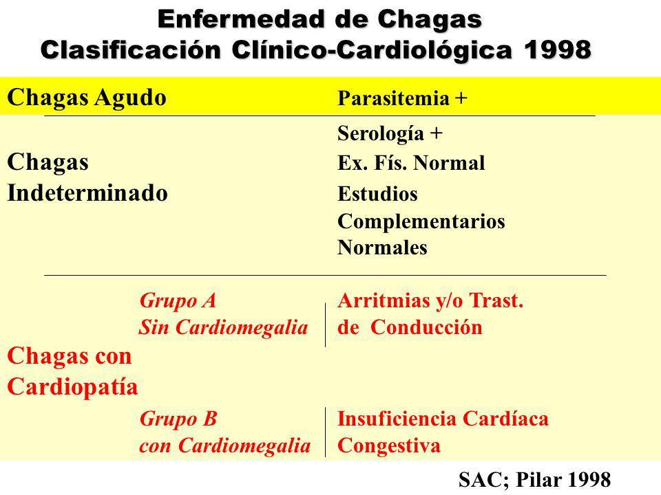 Miocardiopatía Chagásica Crónica Se desarrolla por causas aún desconocidas en el 20-30 % de los que cursaron período agudo y luego indeterminado.