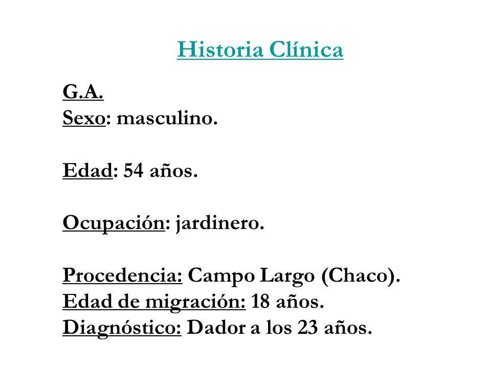 G.A. Sexo: masculino. Edad: 54 años. Ocupación: jardinero. Procedencia: Campo Largo (Chaco). Edad de migración: 18 años. Diagnóstico: Dador a los 23 a