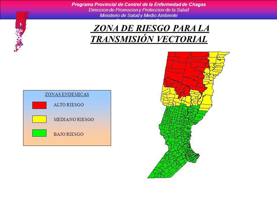 ZONAS ENDEMICAS ALTO RIESGO MEDIANO RIESGO BAJO RIESGO ZONA DE RIESGO PARA LA TRANSMISIÓN VECTORIAL Programa Provincial de Control de la Enfermedad de
