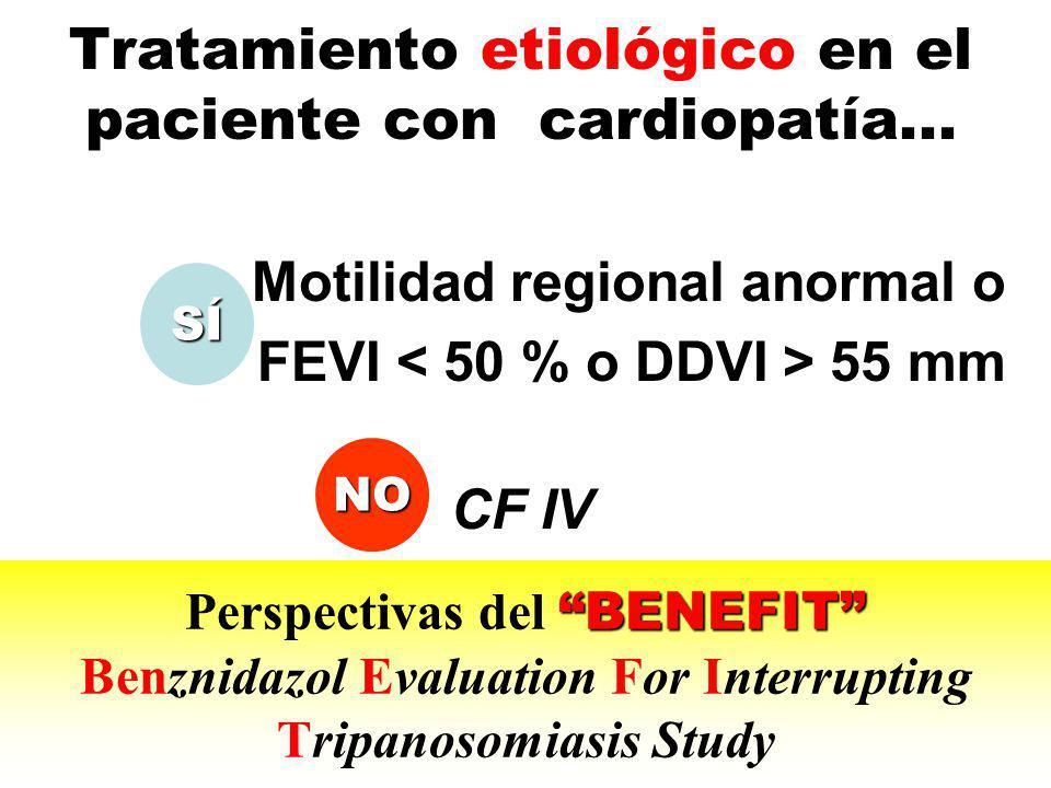 Tratamiento etiológico en el paciente con cardiopatía... Motilidad regional anormal o FEVI 55 mm CF IV BENEFIT Perspectivas del BENEFIT Benznidazol Ev