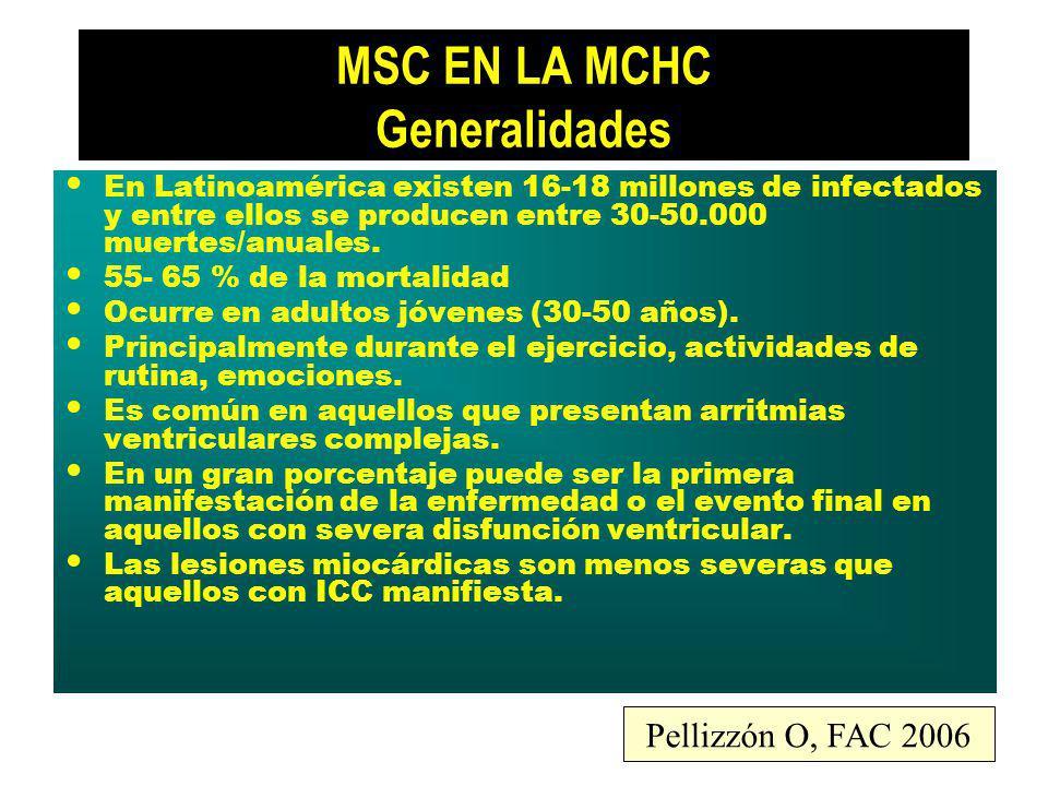 MSC EN LA MCHC Generalidades En Latinoamérica existen 16-18 millones de infectados y entre ellos se producen entre 30-50.000 muertes/anuales. 55- 65 %
