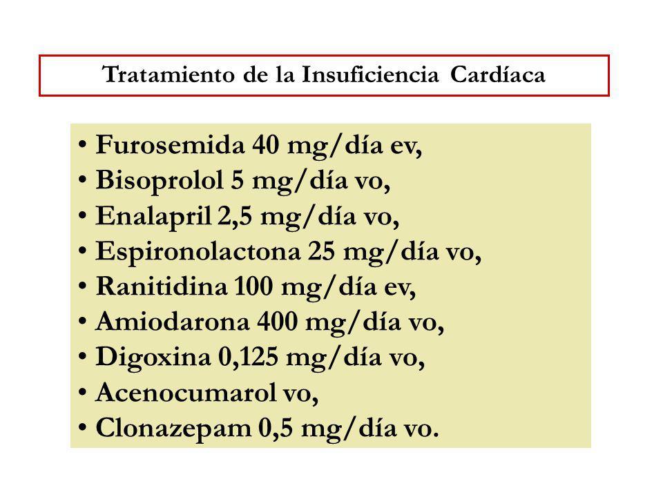 Furosemida 40 mg/día ev, Bisoprolol 5 mg/día vo, Enalapril 2,5 mg/día vo, Espironolactona 25 mg/día vo, Ranitidina 100 mg/día ev, Amiodarona 400 mg/dí