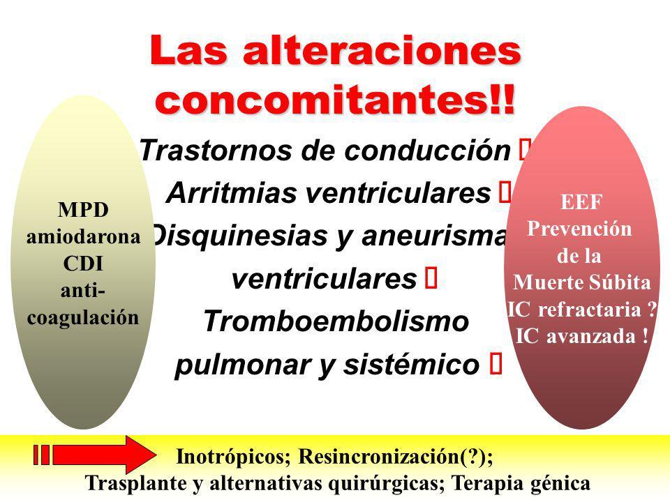 Las alteraciones concomitantes!! Trastornos de conducción Arritmias ventriculares Disquinesias y aneurismas ventriculares Tromboembolismo pulmonar y s