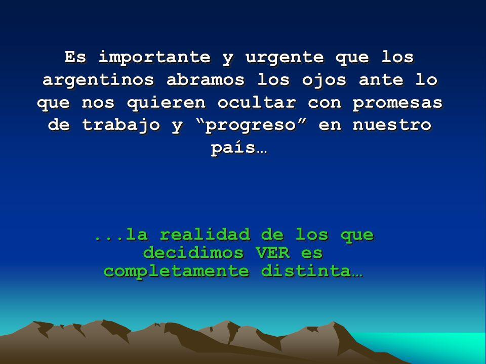 Es importante y urgente que los argentinos abramos los ojos ante lo que nos quieren ocultar con promesas de trabajo y progreso en nuestro país…...la realidad de los que decidimos VER es completamente distinta…