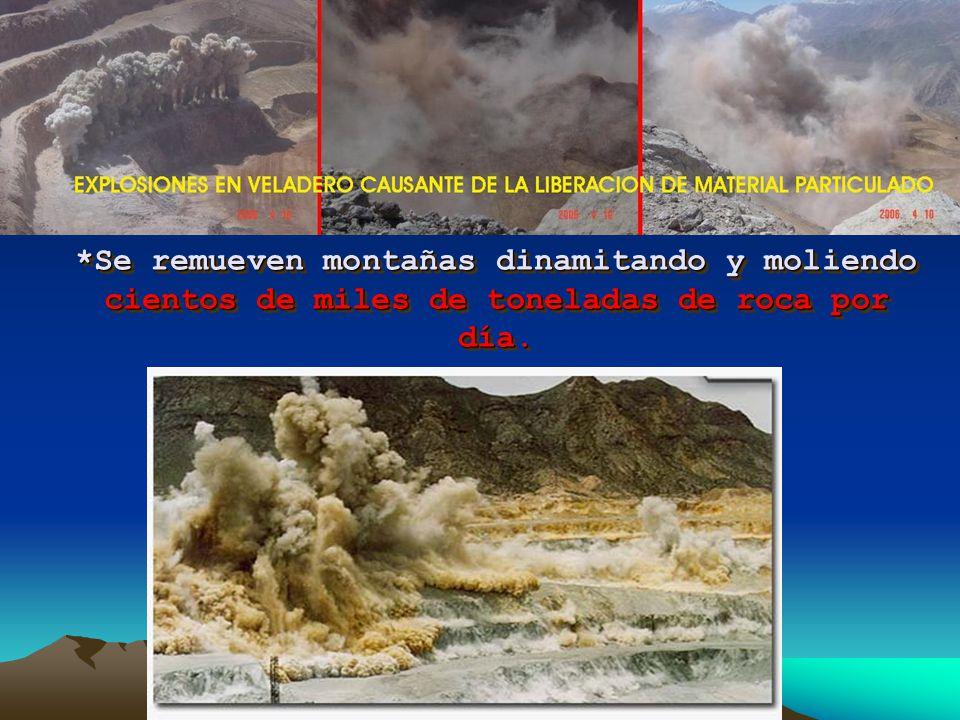*Se crean cráteres gigantescos, que pueden llegar a tener más de 150 hectáreas de extensión y más de 800 metros de profundidad, contaminando el aire con los metales liberados además de la contaminación sonora y el riesgo de provocar sismos.