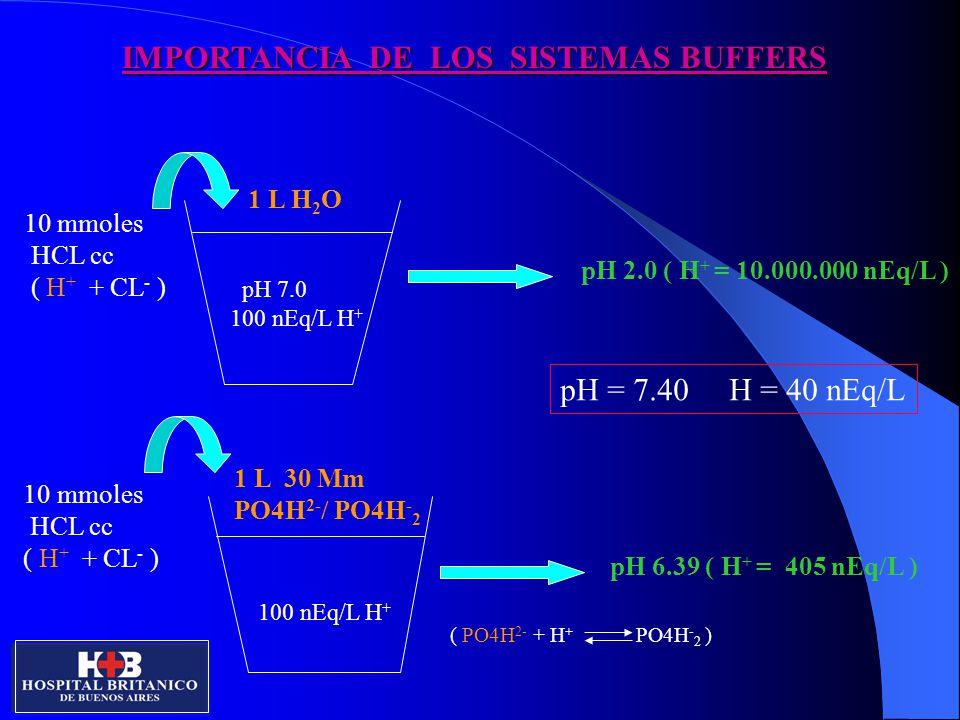 SISTEMA CERRADO VS ABIERTO SISTEMA ABIERTO: AH y A - SON INDEPENDIENTES ENTRE SI SISTEMA CERRADO: AH es proporcional A - ( o viceversa ) pH= pK + log BASE ACIDO Ejemplo: adicion de 5 mmoles HCL pH = 7.40, H = 40 nEq/L, pCO2 = 40 mmHg, CO3H - = 24 mmoles/L, CO3H2 = 1.2 mEq/L SISTEMA CERRADO SISTEMA ABIERTO CO3H - = 19 mEq/L CO3H - = 19 mEq/L CO3H2 = 6.2 CO3H2= 1.2 pCO2 = 206 mmHg pCO2 = 40 mmHg H = 257 nEq/l H= 50 nEq/L pH = 6.59 pH = 7.30 6 A - 6 AH 4 H + 10 AH + 2 A -