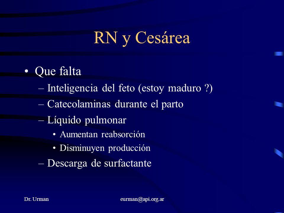 Dr. Urmaneurman@api.org.ar RN y Cesárea Que falta –Inteligencia del feto (estoy maduro ?) –Catecolaminas durante el parto –Líquido pulmonar Aumentan r