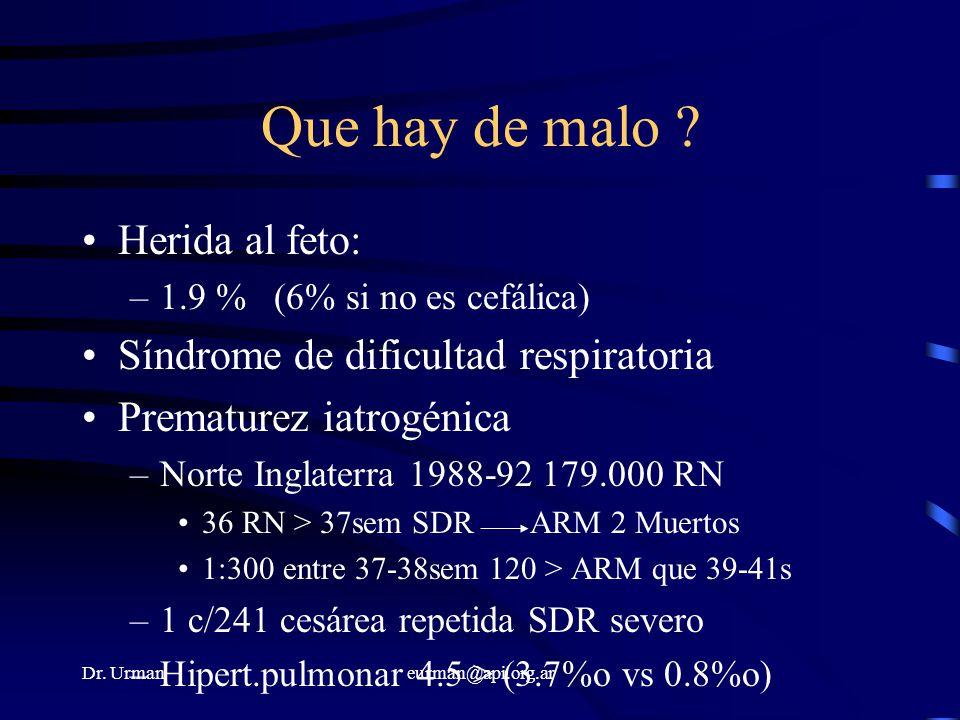 Dr. Urmaneurman@api.org.ar Que hay de malo ? Herida al feto: –1.9 %(6% si no es cefálica) Síndrome de dificultad respiratoria Prematurez iatrogénica –