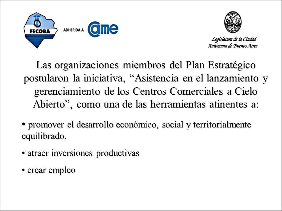 Las organizaciones miembros del Plan Estratégico postularon la iniciativa, Asistencia en el lanzamiento y gerenciamiento de los Centros Comerciales a