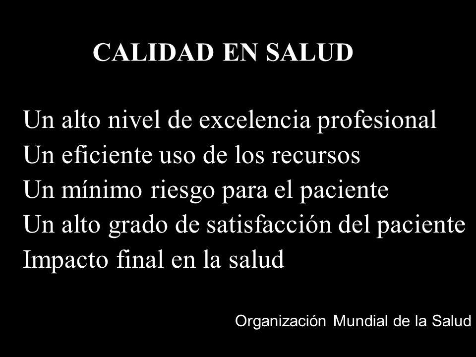 CALIDAD EN SALUD Un alto nivel de excelencia profesional Un eficiente uso de los recursos Un mínimo riesgo para el paciente Un alto grado de satisfacc