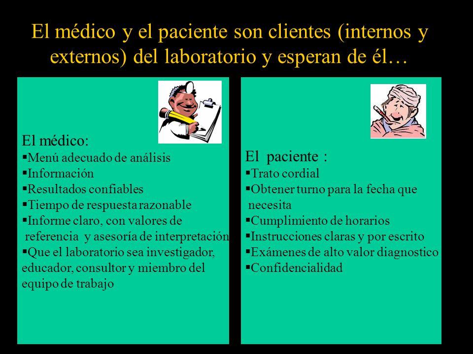 El médico y el paciente son clientes (internos y externos) del laboratorio y esperan de él… El médico: Menú adecuado de análisis Información Resultado