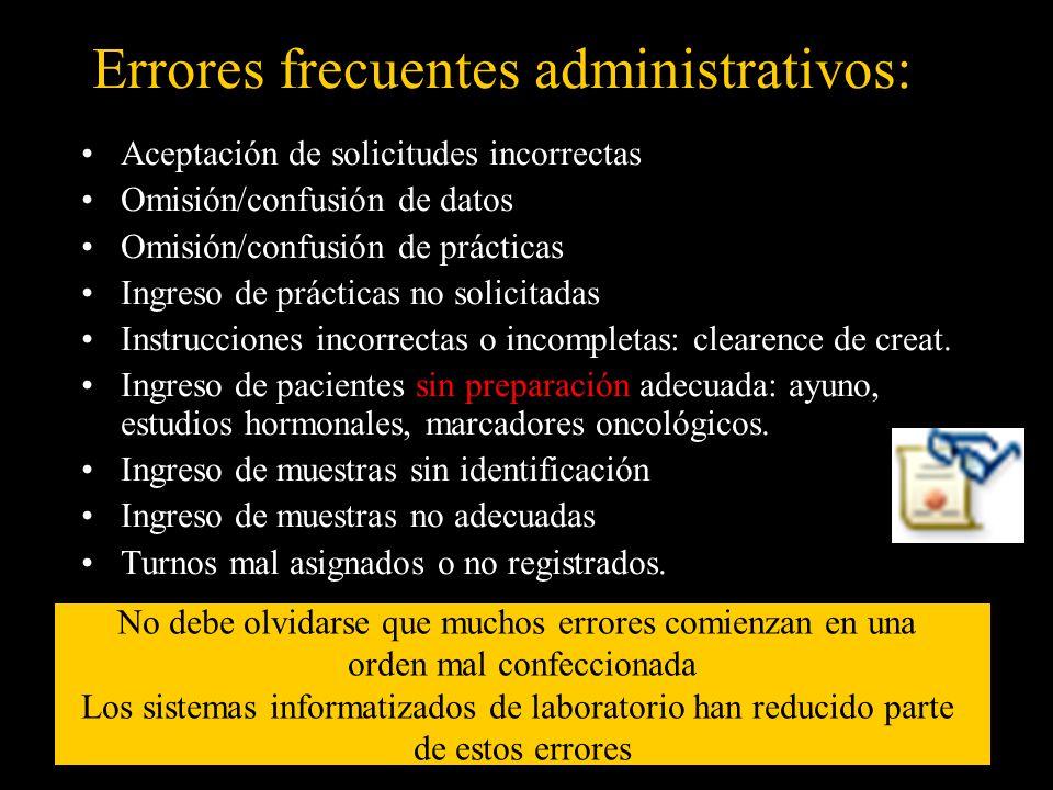 Errores frecuentes administrativos: Aceptación de solicitudes incorrectas Omisión/confusión de datos Omisión/confusión de prácticas Ingreso de práctic