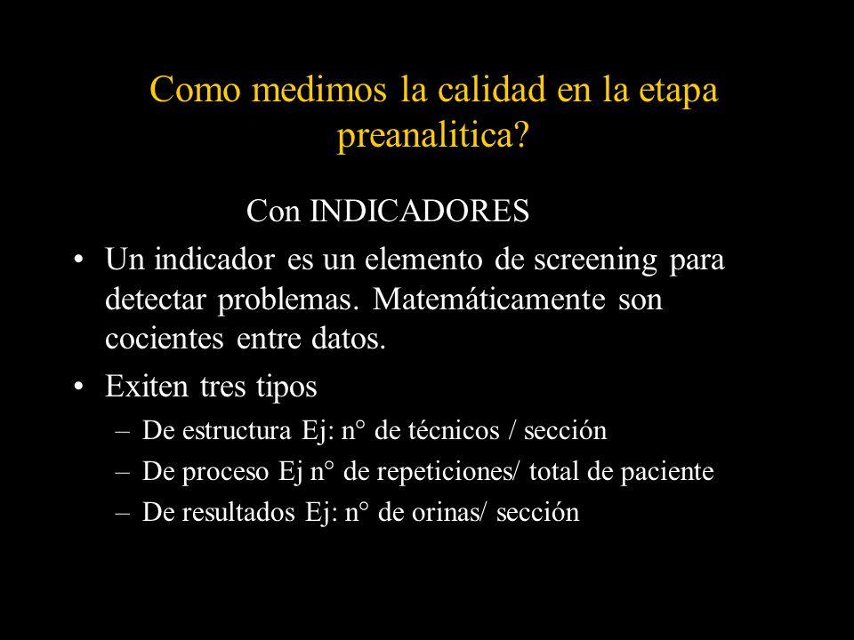 Como medimos la calidad en la etapa preanalitica? Con INDICADORES Un indicador es un elemento de screening para detectar problemas. Matemáticamente so