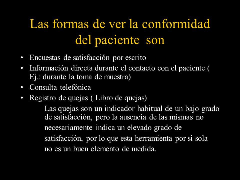 Las formas de ver la conformidad del paciente son Encuestas de satisfacción por escrito Información directa durante el contacto con el paciente ( Ej.: