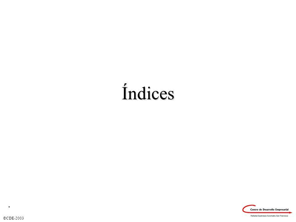©CDE-2003 Índices.