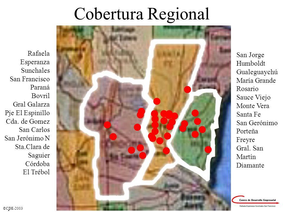 ©CDE-2003 Cobertura Regional Ciudades donde se prestaron Servicios Rafaela Esperanza Sunchales San Francisco Paraná Bovril Gral Galarza Pje El Espinillo Cda.