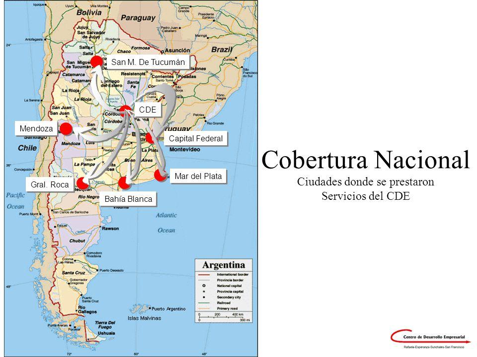 ©CDE-2003 Cobertura Nacional Ciudades donde se prestaron Servicios del CDE Bahía Blanca Gral. Roca Mar del Plata Mendoza San M. De Tucumán Capital Fed