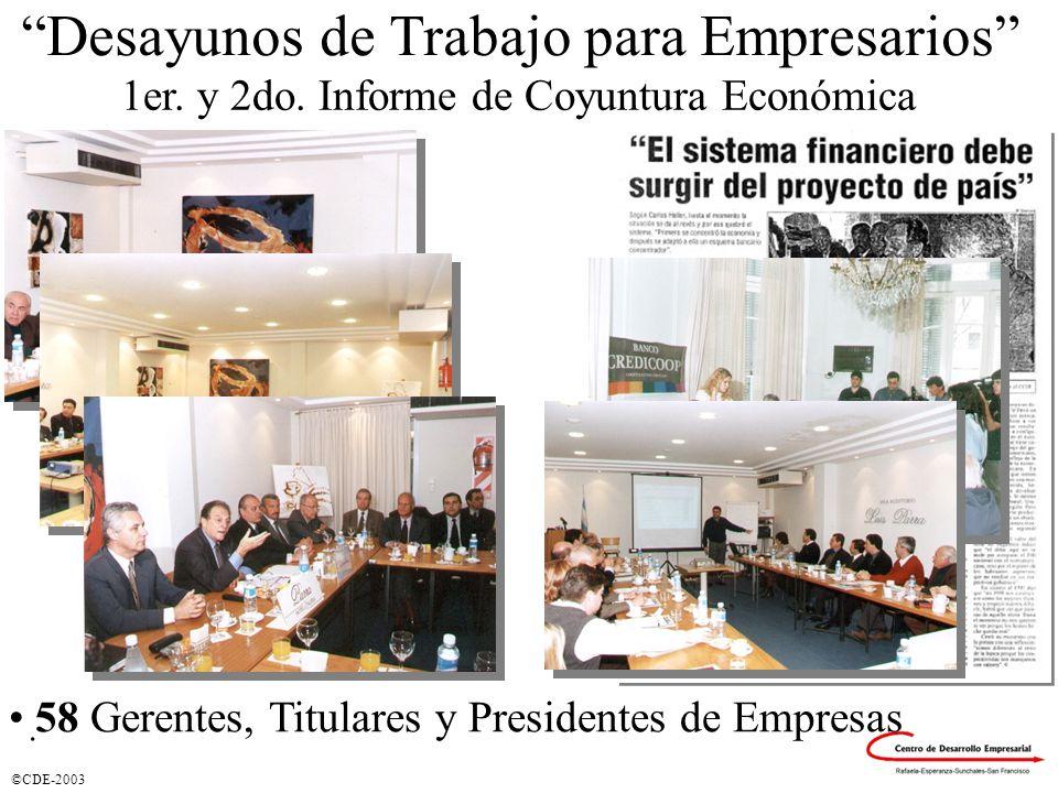 ©CDE-2003 Desayunos de Trabajo para Empresarios 58 Gerentes, Titulares y Presidentes de Empresas 1er. y 2do. Informe de Coyuntura Económica.