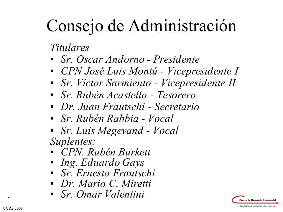 ©CDE-2003 Consejo de Administración Titulares Sr. Oscar Andorno - Presidente CPN José Luis Montú - Vicepresidente I Sr. Víctor Sarmiento - Vicepreside