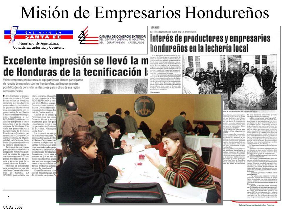 ©CDE-2003. Misión de Empresarios Hondureños Ministerio de Agricultura, Ganadería, Industria y Comercio
