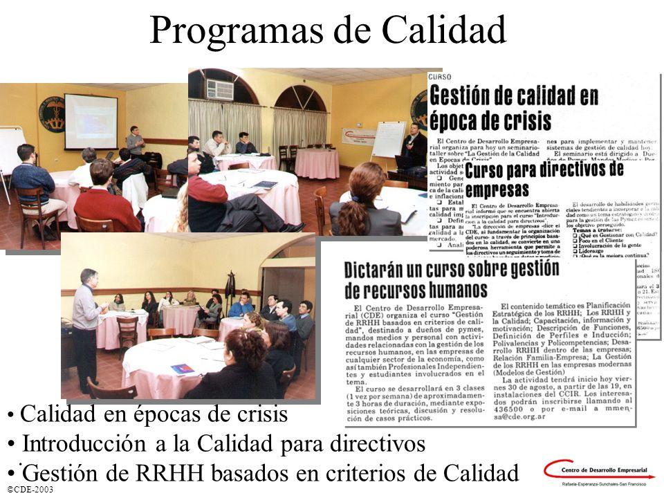©CDE-2003 Programas de Calidad Calidad en épocas de crisis Introducción a la Calidad para directivos Gestión de RRHH basados en criterios de Calidad.