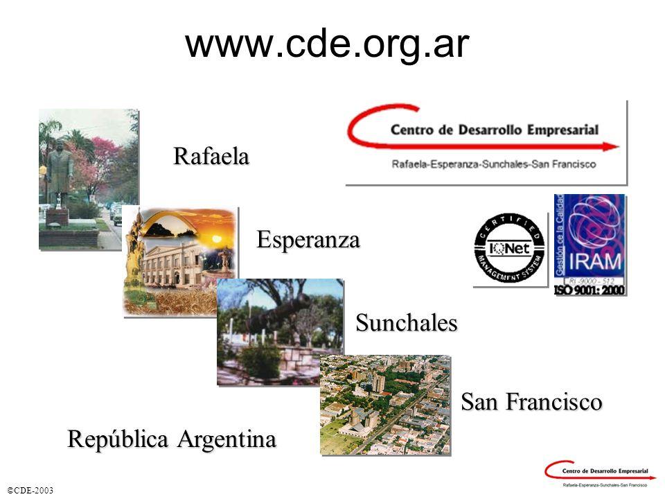 ©CDE-2003 www.cde.org.arRafaela Esperanza Sunchales San Francisco República Argentina