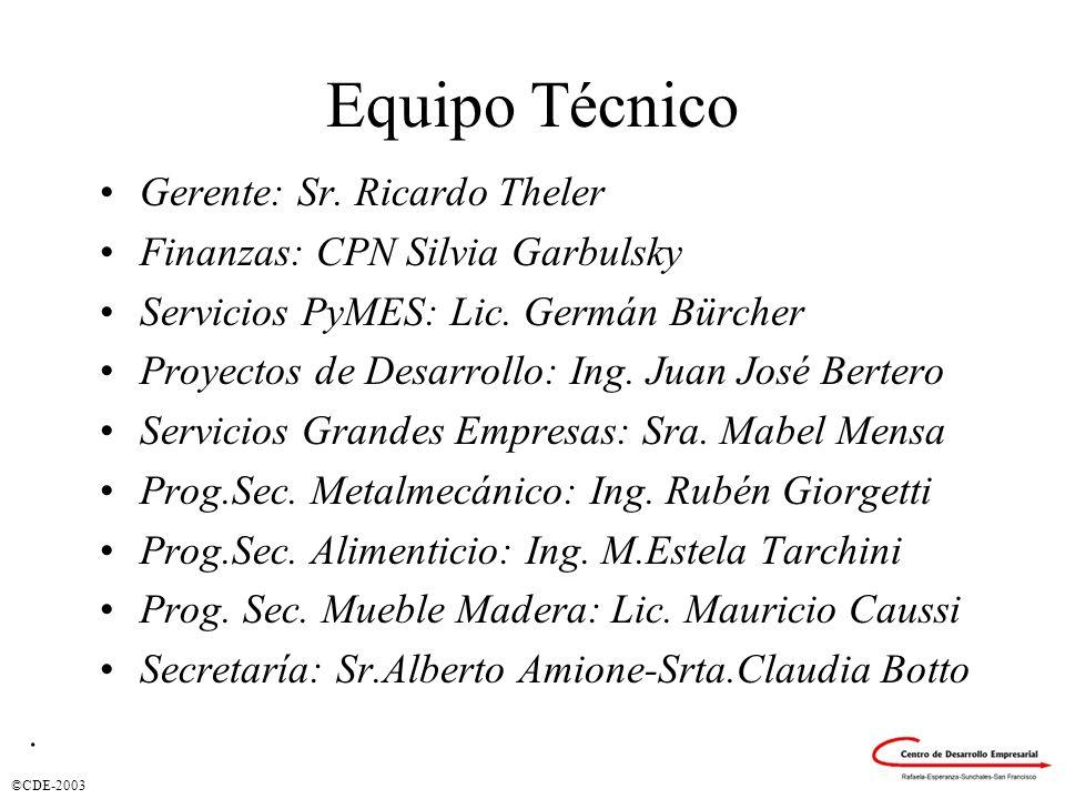 ©CDE-2003 Equipo Técnico Gerente: Sr. Ricardo Theler Finanzas: CPN Silvia Garbulsky Servicios PyMES: Lic. Germán Bürcher Proyectos de Desarrollo: Ing.