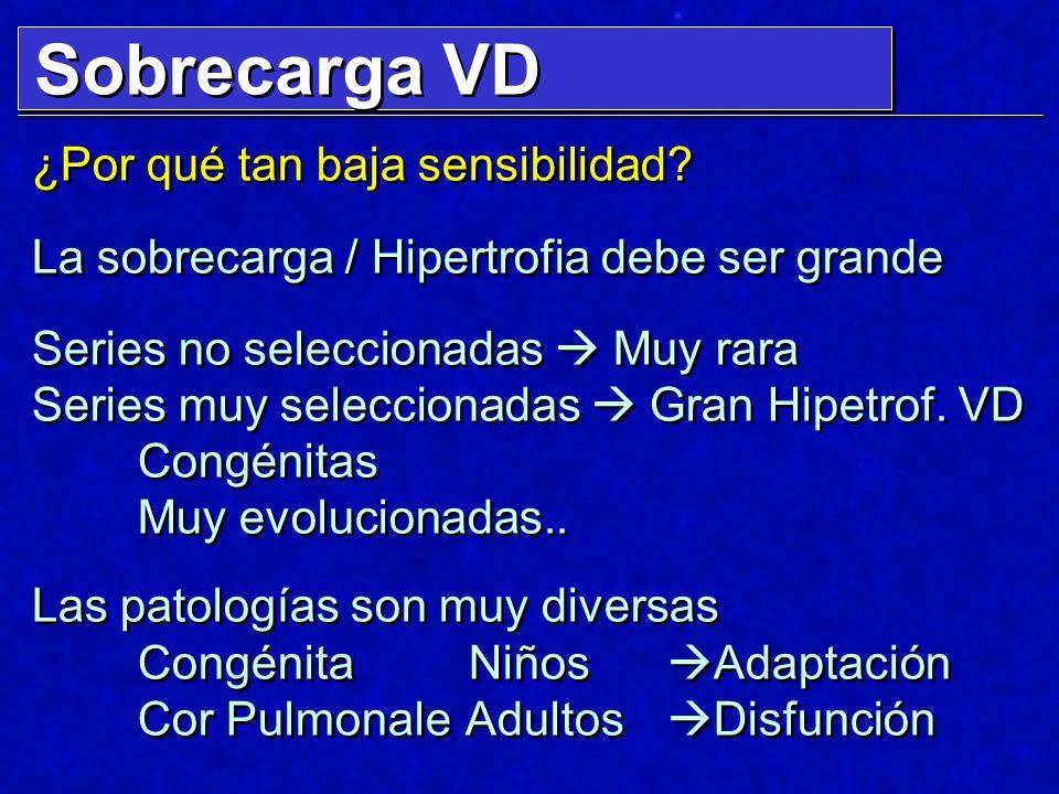 Sobrecarga VD ¿Por qué tan baja sensibilidad? La sobrecarga / Hipertrofia debe ser grande Series no seleccionadas Muy rara Series muy seleccionadas Gr