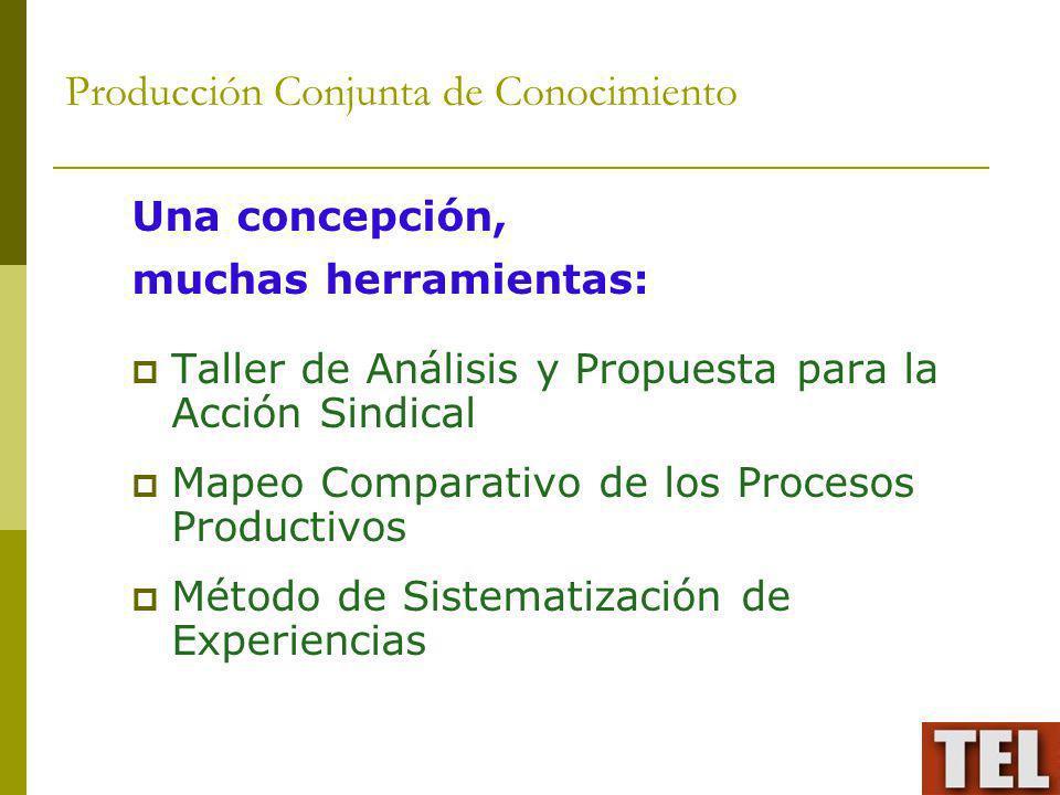 Producción Conjunta de Conocimiento Una concepción, muchas herramientas: Taller de Análisis y Propuesta para la Acción Sindical Mapeo Comparativo de l
