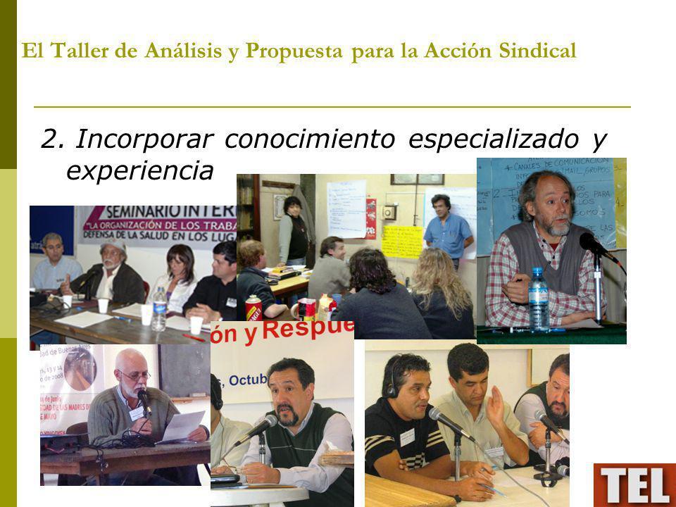 El Taller de Análisis y Propuesta para la Acción Sindical 2. Incorporar conocimiento especializado y experiencia