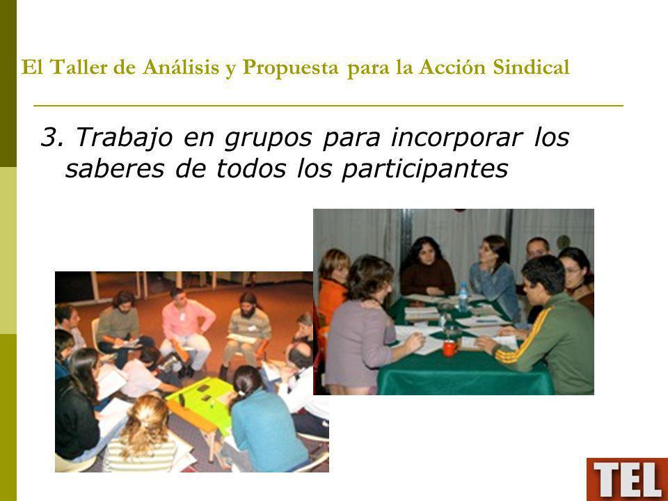 El Taller de Análisis y Propuesta para la Acción Sindical 3. Trabajo en grupos para incorporar los saberes de todos los participantes