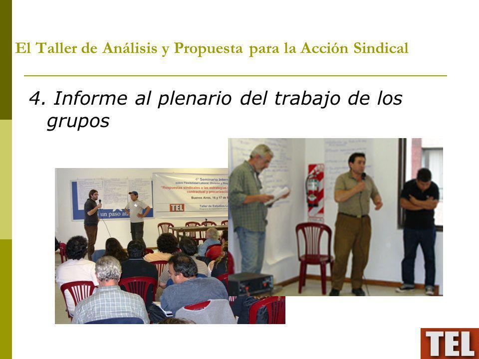 El Taller de Análisis y Propuesta para la Acción Sindical 4. Informe al plenario del trabajo de los grupos