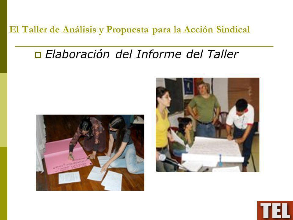 El Taller de Análisis y Propuesta para la Acción Sindical Elaboración del Informe del Taller