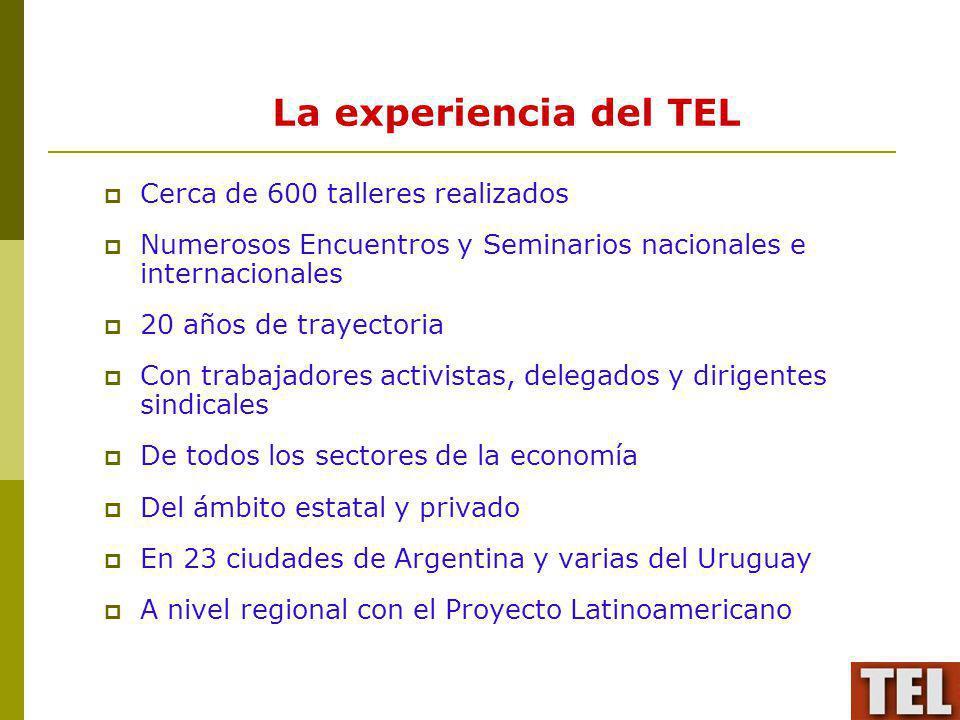 La experiencia del TEL Cerca de 600 talleres realizados Numerosos Encuentros y Seminarios nacionales e internacionales 20 años de trayectoria Con trab