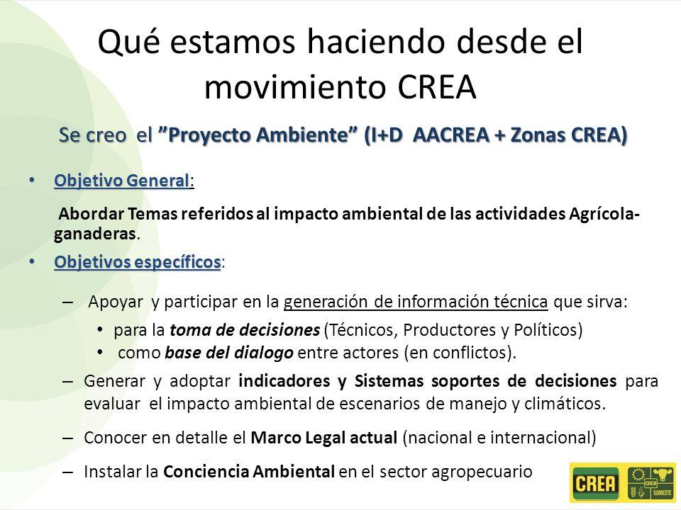 Qué estamos haciendo desde el movimiento CREA Se creo el Proyecto Ambiente (I+D AACREA + Zonas CREA) Objetivo General Objetivo General: Abordar Temas