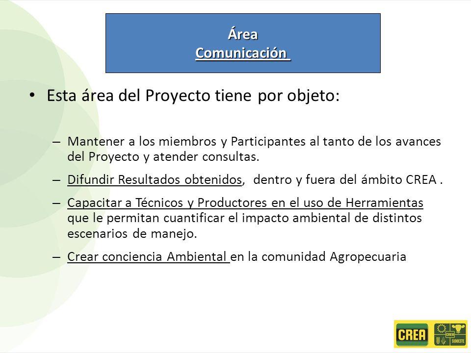Esta área del Proyecto tiene por objeto: – Mantener a los miembros y Participantes al tanto de los avances del Proyecto y atender consultas. – Difundi