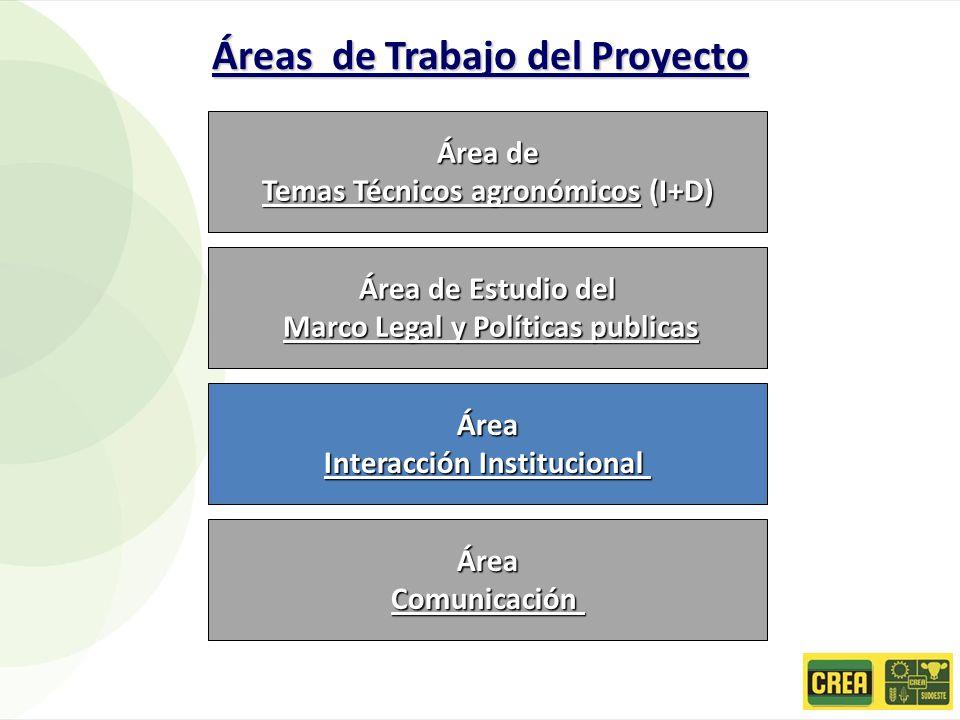 Área de Temas Técnicos agronómicos (I+D) Área de Estudio del Marco Legal y Políticas publicas Marco Legal y Políticas publicas Área Interacción Instit