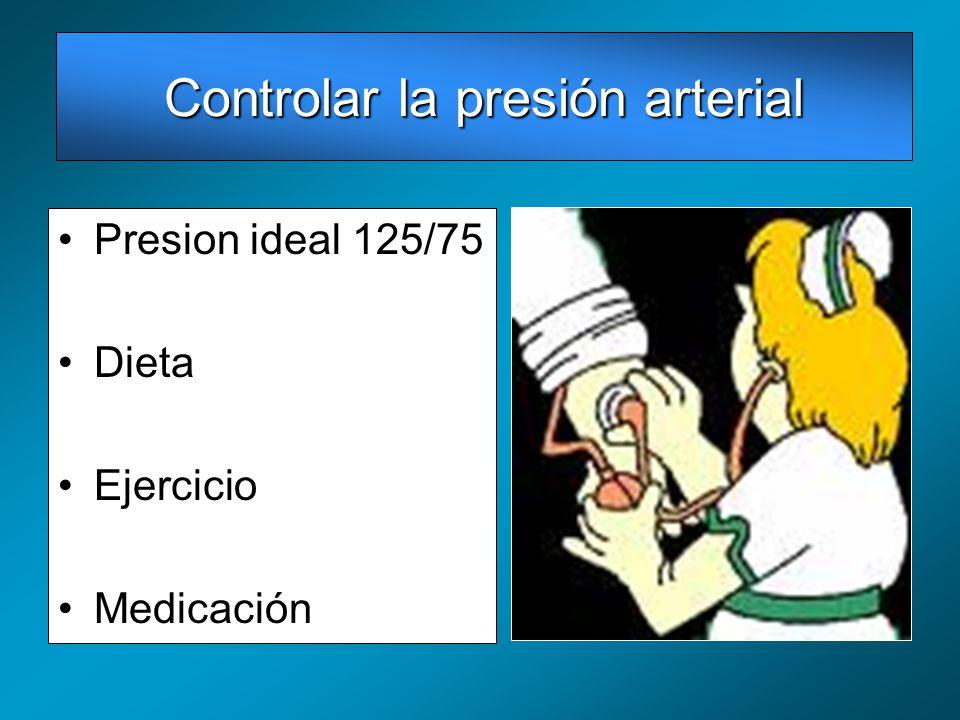 Presion ideal 125/75 Dieta Ejercicio Medicación Controlar la presión arterial