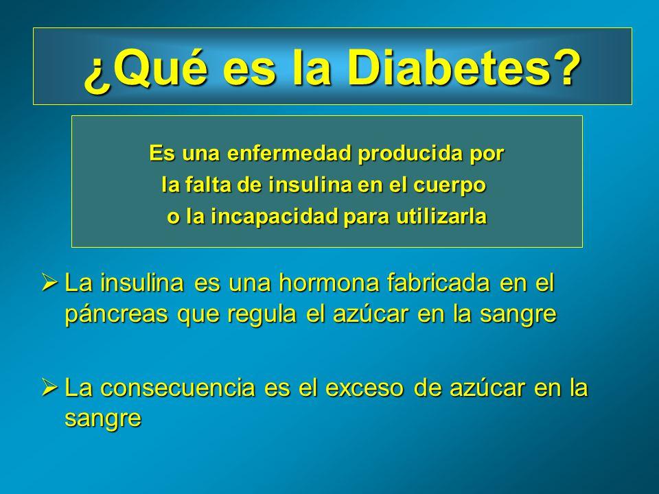 La insulina es una hormona fabricada en el páncreas que regula el azúcar en la sangre La insulina es una hormona fabricada en el páncreas que regula e