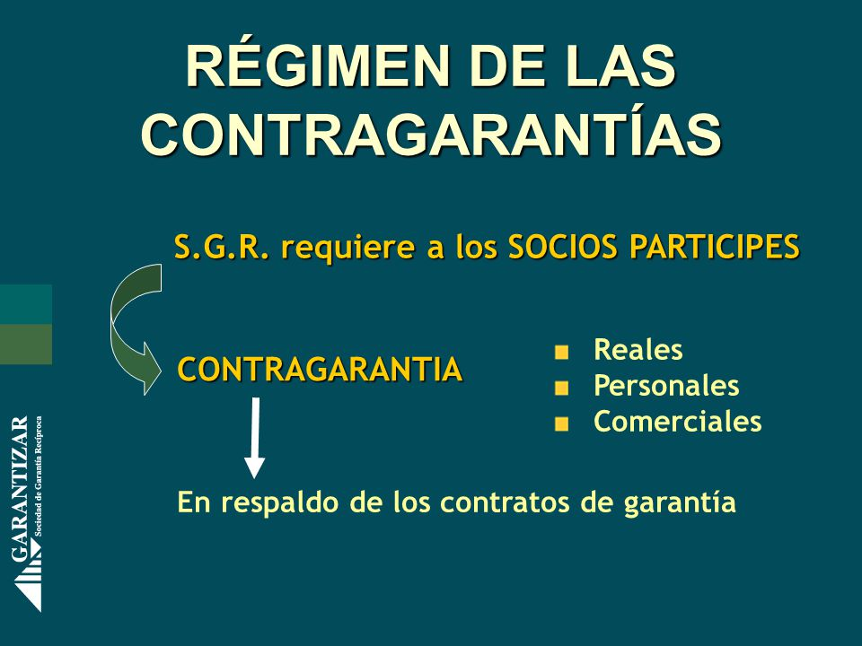 RÉGIMEN DE LAS CONTRAGARANTÍAS S.G.R.