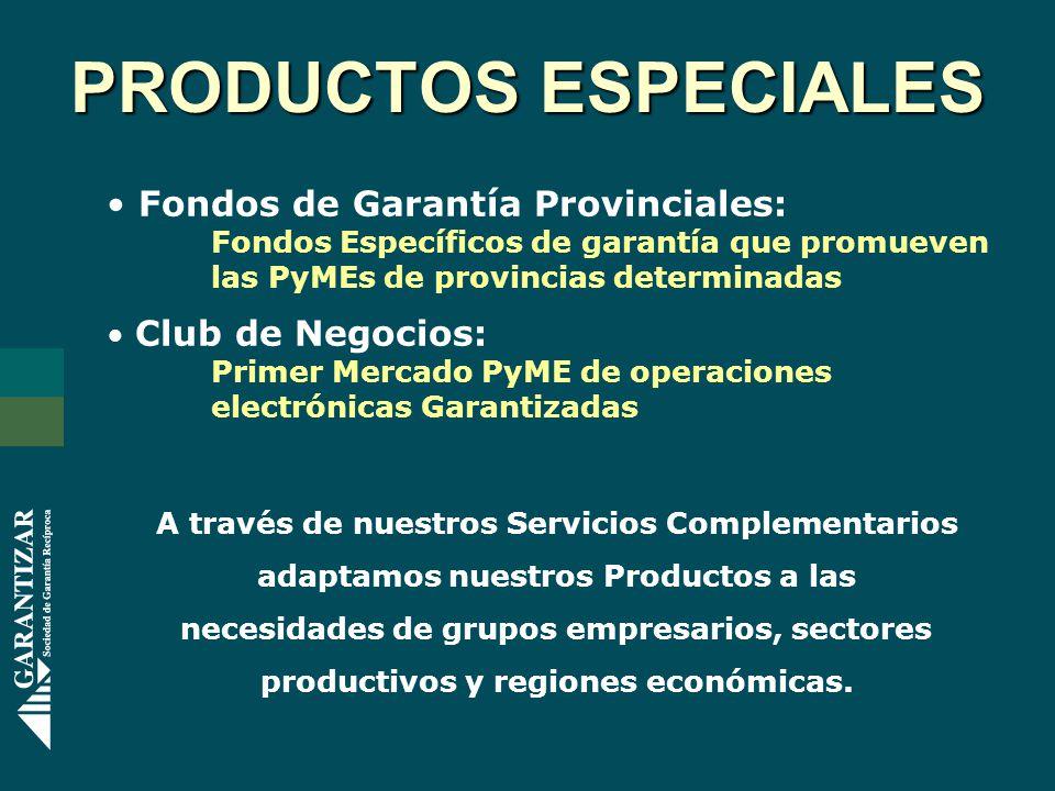 Fondos de Garantía Provinciales: Fondos Específicos de garantía que promueven las PyMEs de provincias determinadas Club de Negocios: Primer Mercado Py