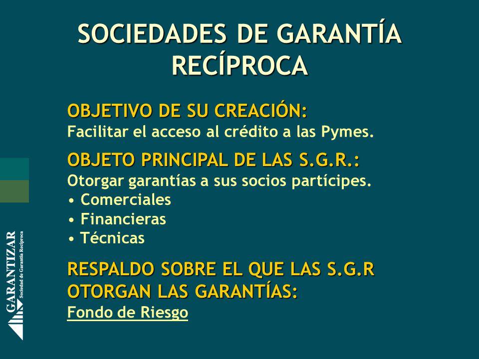 SOCIEDADES DE GARANTÍA RECÍPROCA OBJETIVO DE SU CREACIÓN: Facilitar el acceso al crédito a las Pymes. OBJETO PRINCIPAL DE LAS S.G.R.: Otorgar garantía
